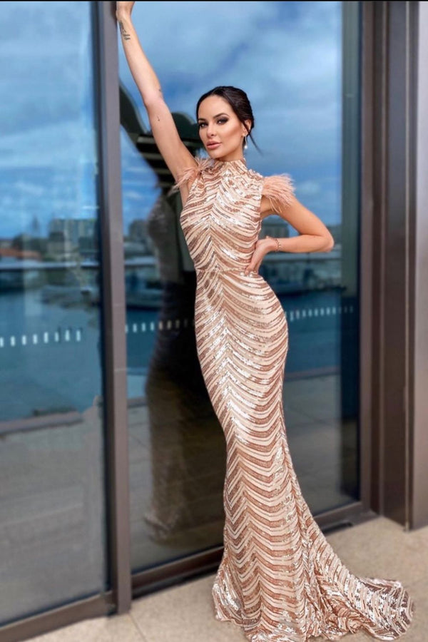 Power Vip Rose Gold Luxe Feather Shoulder Sequin Illusion Maxi Dress