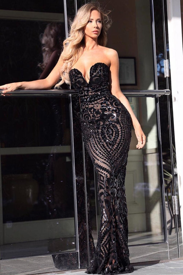 Kenza Black Luxe Sweetheart Plunge Sequin Embellished Fishtail Dress