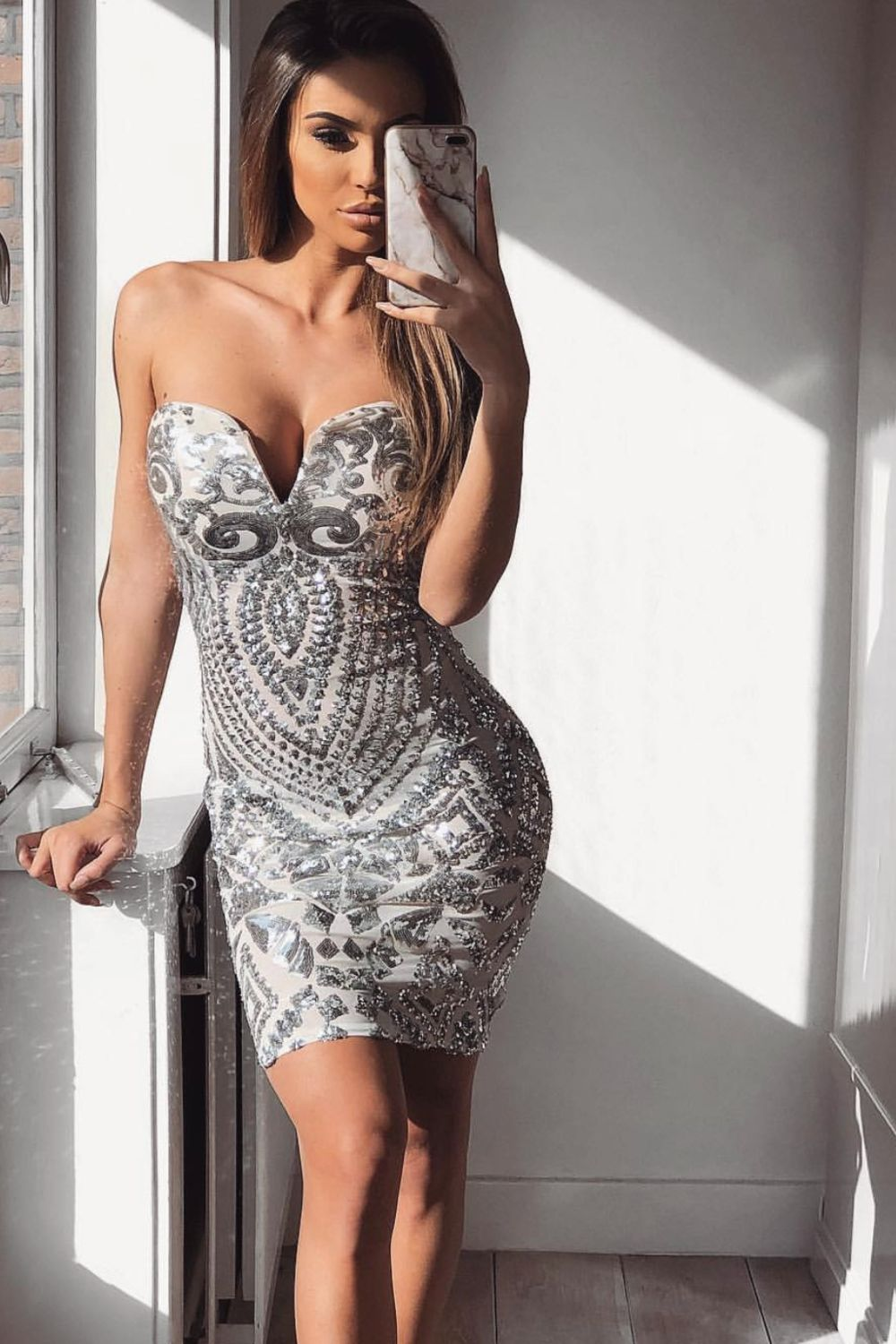 Aphrodite Silver Luxe Sweetheart Plunge Sequin Embellished Midi Dress