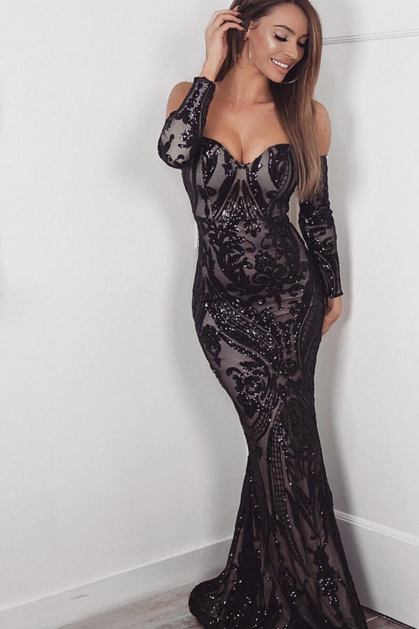 Rain Black Luxe Vip Sequin Sweetheart Off Shoulder Fishtail Dress