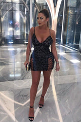 Eye Candy Black Nude Plunge Sequin Lace Up Thigh Mini Dress