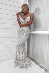 Spotlight Silver Vip Luxe Sequin Backless Mermaid Fishtail Dress