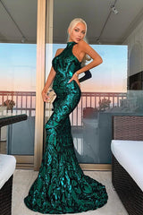 Envy Emerald Green Vip Luxe Illusion Sequin Embellished Fishtail Dress