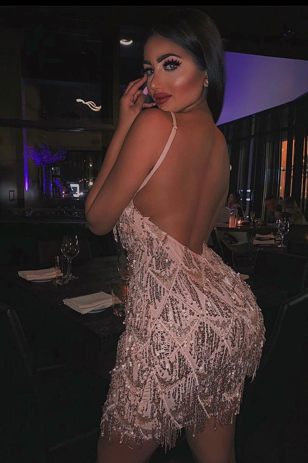 Shake It Rose Gold Ombre Sequin Tassel Fringe Backless Dress