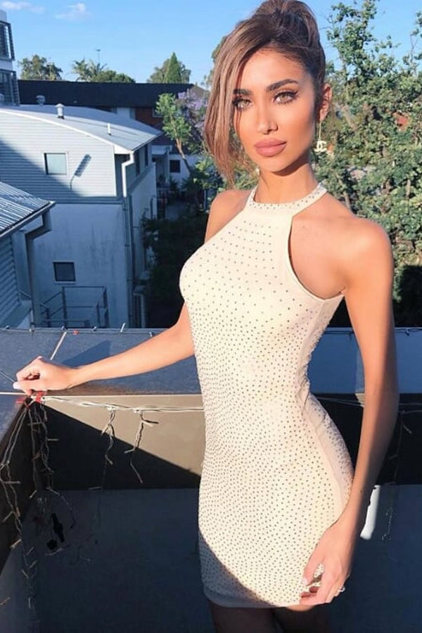 Glow Up Luxe Nude Rhinestone Bling High Neck Bodycon Mesh Dress