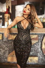 Monaco Luxe Black Nude Plunge Sequin Sheer Midi Pencil Dress