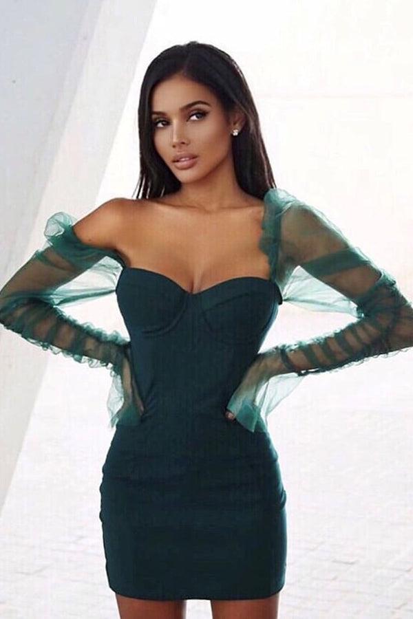 Milani Green Sheer Mesh Net Long Sleeve Bustier Bodycon Mini Dress