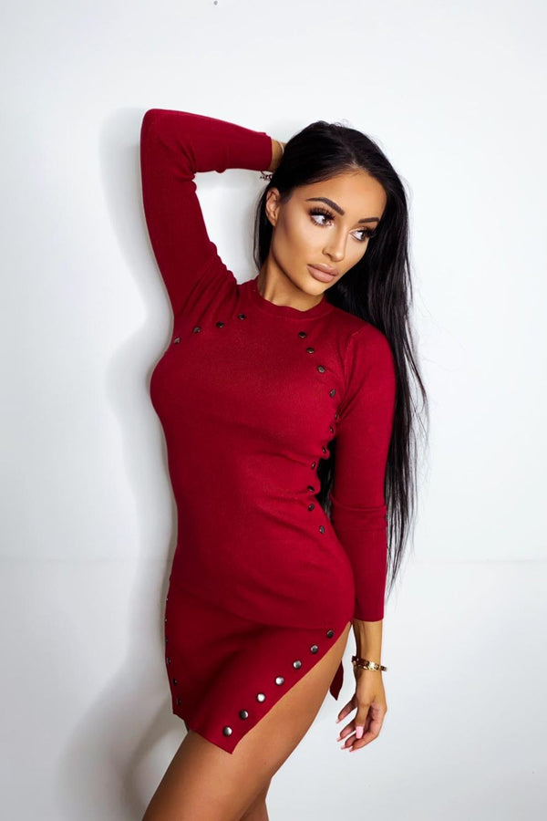 Celina Red Button Ribbed Knitted Long Sleeve Double Slit Mini Dress