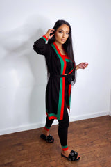 Zara Black Red and Green Striped Fine Knit 3 Piece Lounge Co-ord Set
