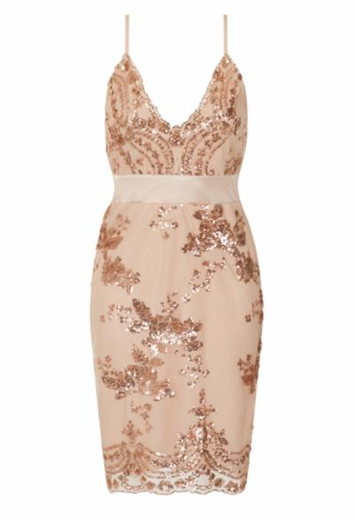 Lydia Rose Gold Plunge Floral Sequin Scalloped Midi Dress