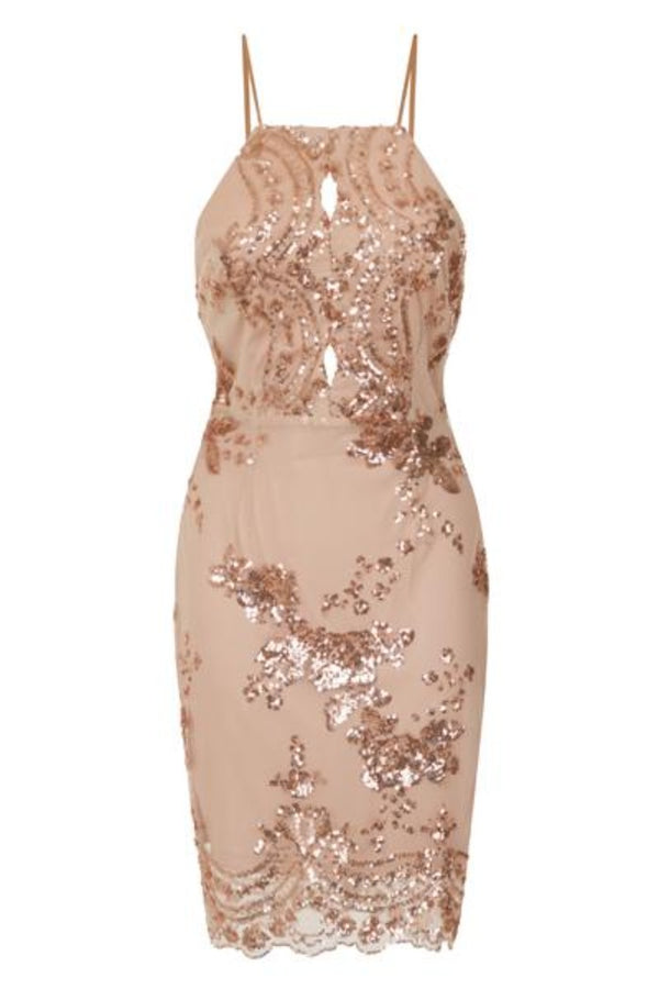 Selena Rose Gold Keyhole Bust Floral Sequin Scalloped Midi Dress