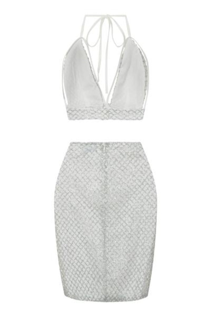 Monica White Silver Glitter Cut Out Two Piece Skirt Bralet Co Ord Set