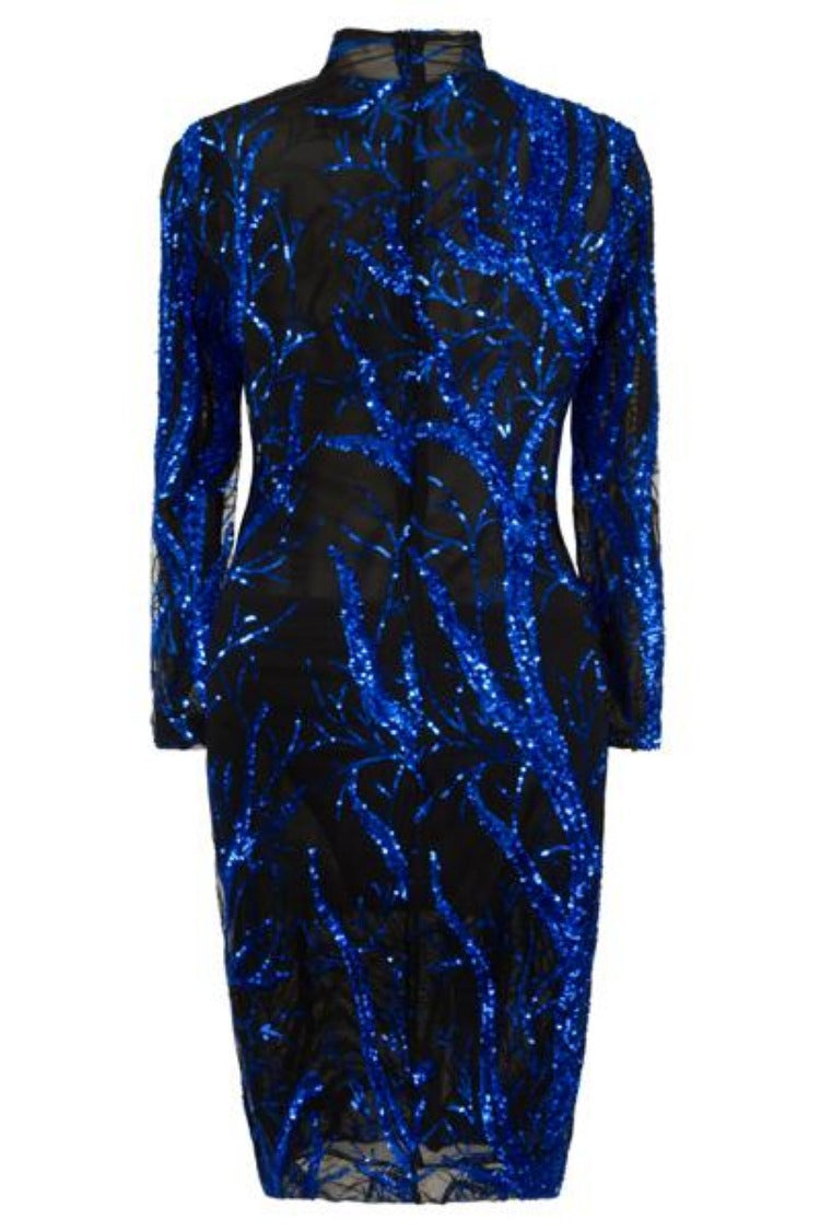 Jenny Black Transparent Blue Tree Luxe Sequin Turtle Neck Midi Dress