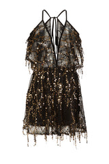Lily Black Sheer Plunge Gold Sequin Tassel Fringe Playsuit Romper