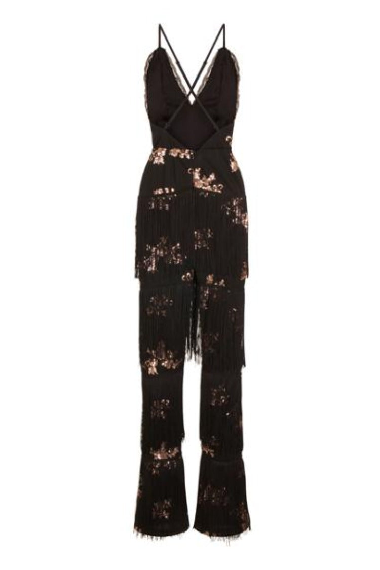 Peru Black Rose Gold Plunge Floral Sequin Fringe Jumpsuit