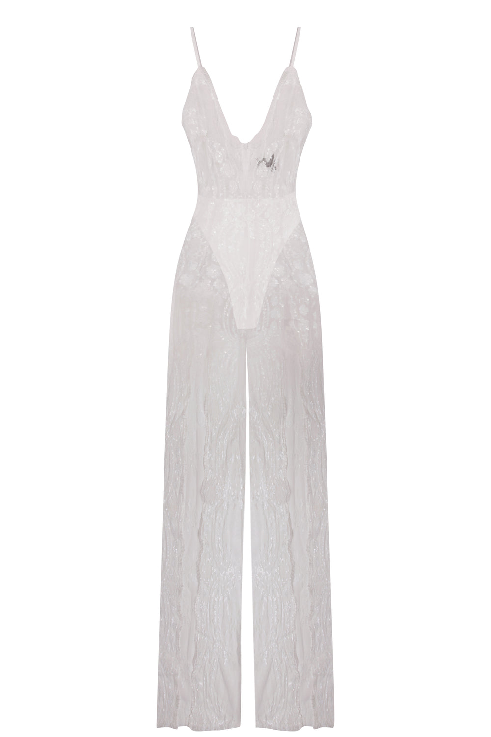 Game Changer White Sheer Floral Sequin Palazzo Split Jumpsuit
