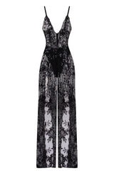 Game Changer Black Sheer Floral Sequin Palazzo Split Jumpsuit