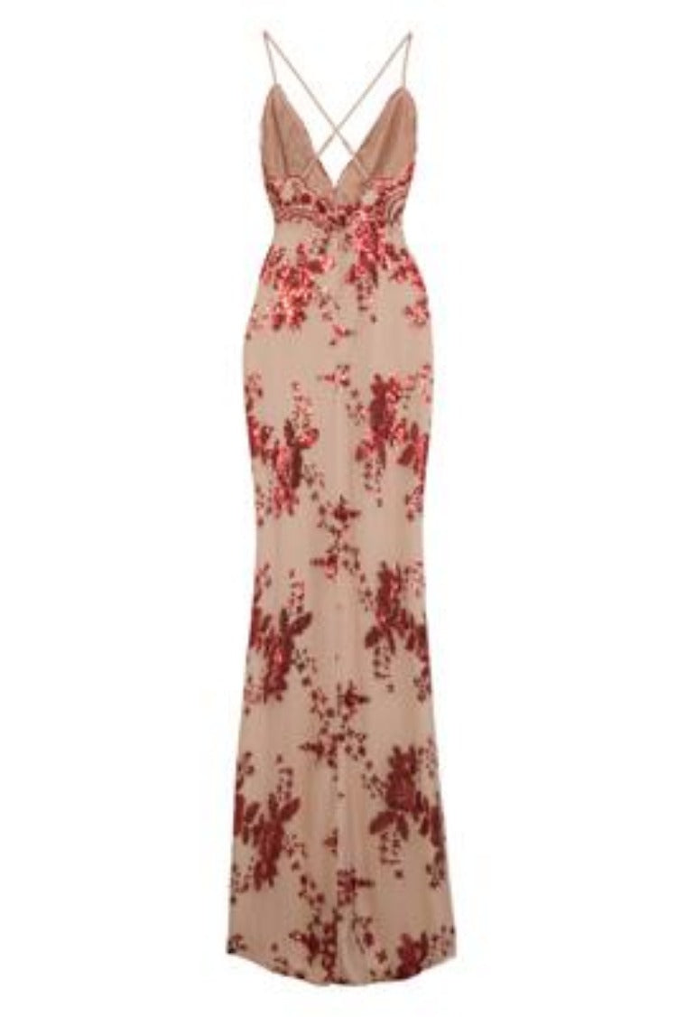 Pure Desire Red Plunge Floral Sequin Double Thigh Slit Maxi Dress
