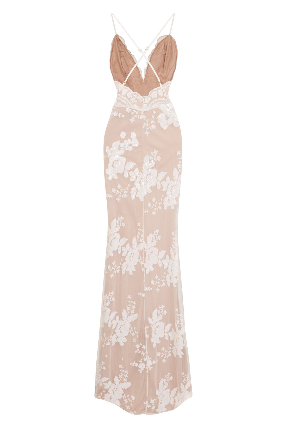 Pure Desire White Plunge Floral Sequin Double Thigh Slit Maxi Dress