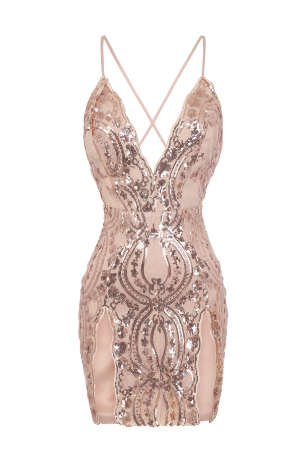 No Limit Rose Gold Nude Plunge Floral Sequin Double Thigh Slit Mini Dress