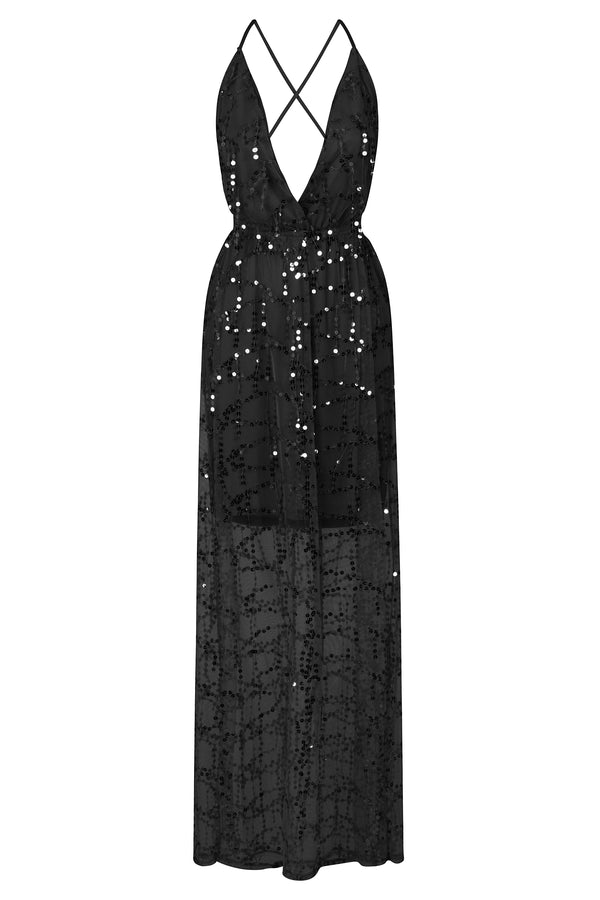 Tiffany Black Plunge Sequin Tassel Fringe Sheer Maxi Dress