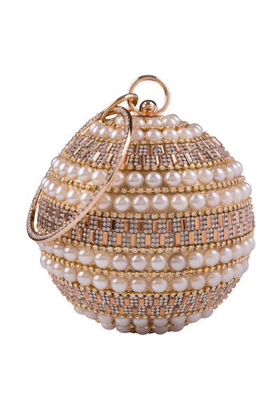 Viva Gold Crystal Diamante Pearl Wristlet Sphere Clutch Bag