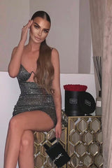 London Black Silver Metallic Glitter Underwired Cut Out Bodycon Dress