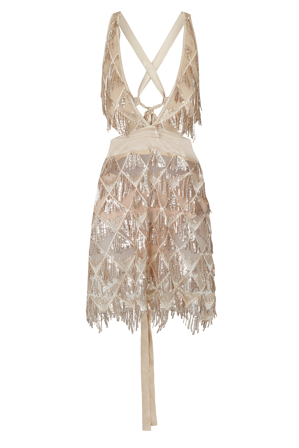 Holly Glam Champagne Gold Ombre Sequin Tassel Fringe Sheer Dress