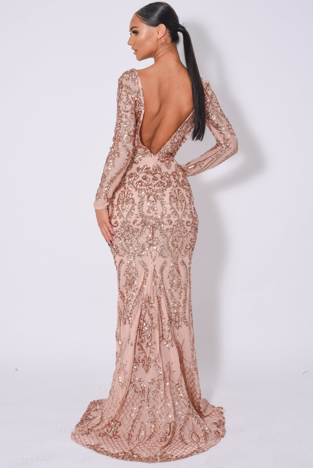 Annabella Rose Gold V Back Floral Plunge Sequin Fishtail Dress
