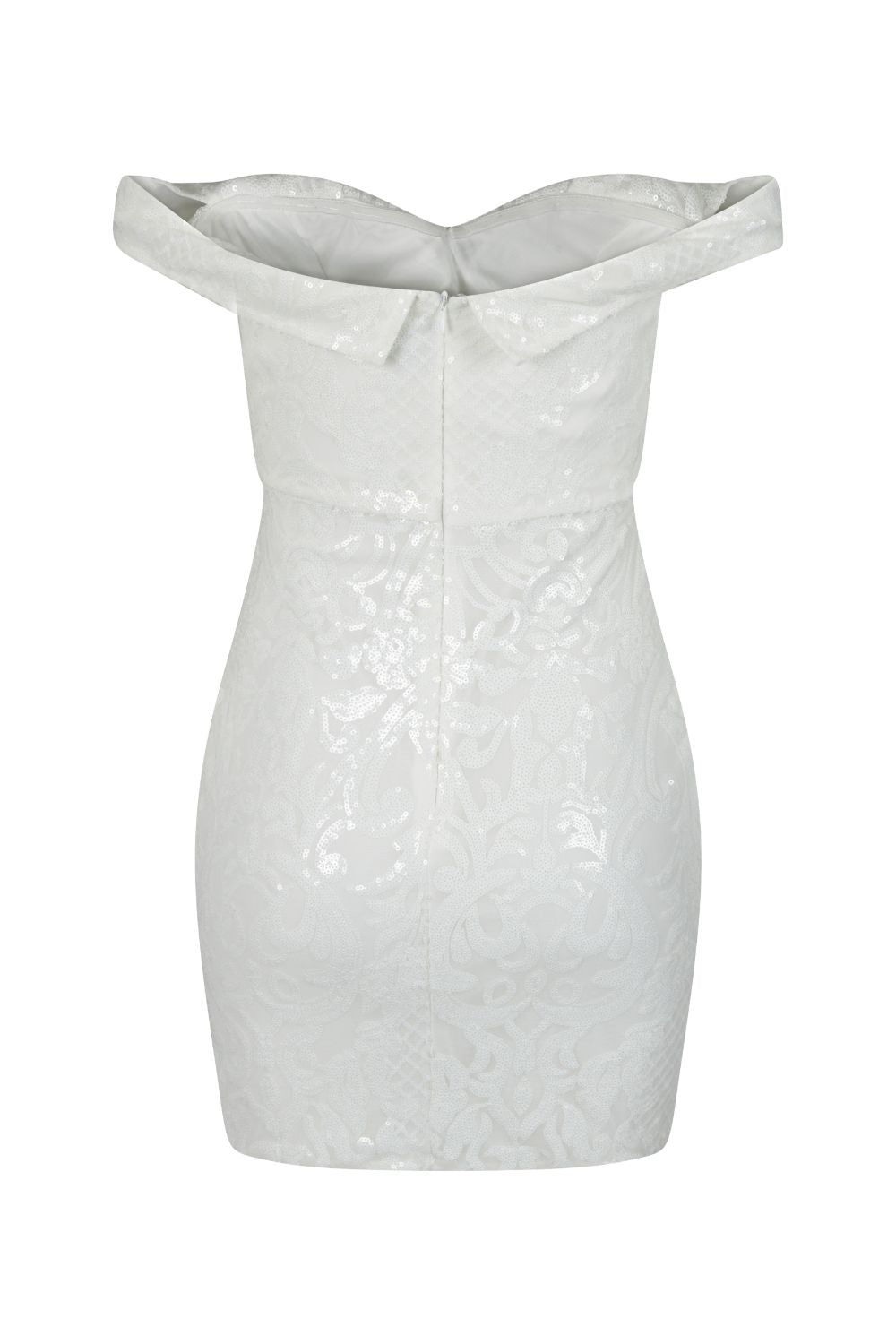 Alexiya White Bardot Sweetheart Sequin Embellished Illusion Dress