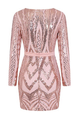 Coco Couture Vip Rose Gold Nude Sequin Bodycon Illusion Dress
