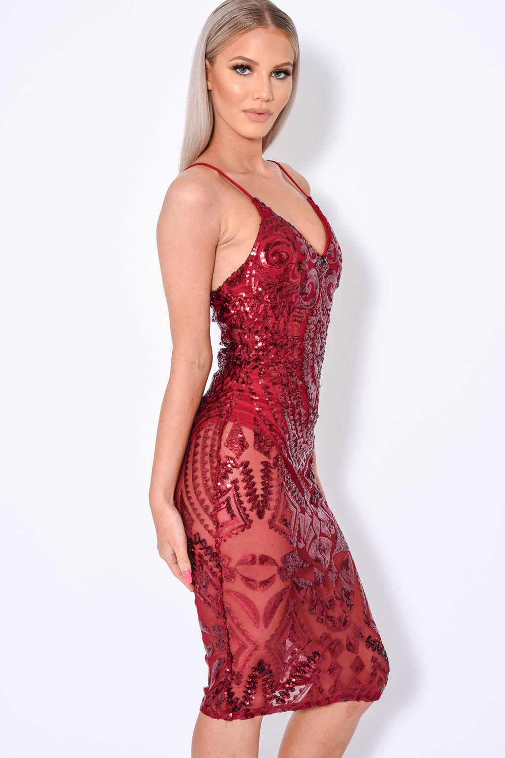 Body On Me Luxe Berry Sequin Sheer Bodysuit Midi Dress