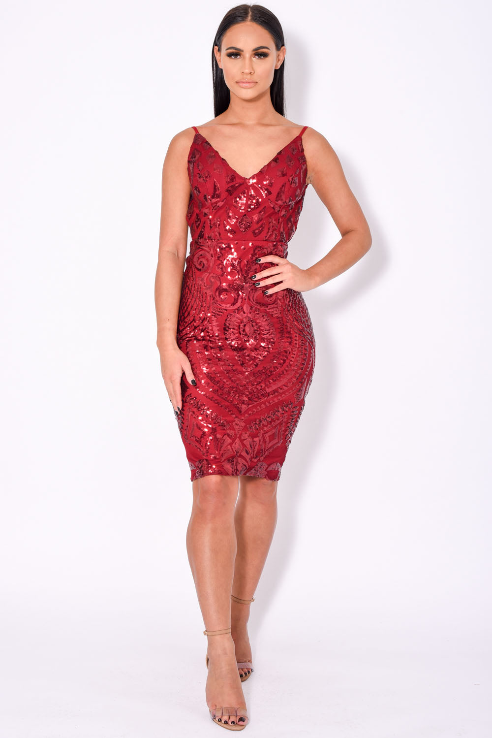 High Shine Luxe Berry Red Sequin Backless Midi Dress