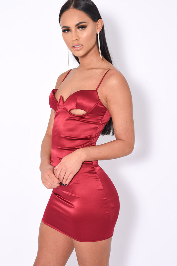 Don'T Hate Berry Cut Out Bust Satin Mini Dress Dress