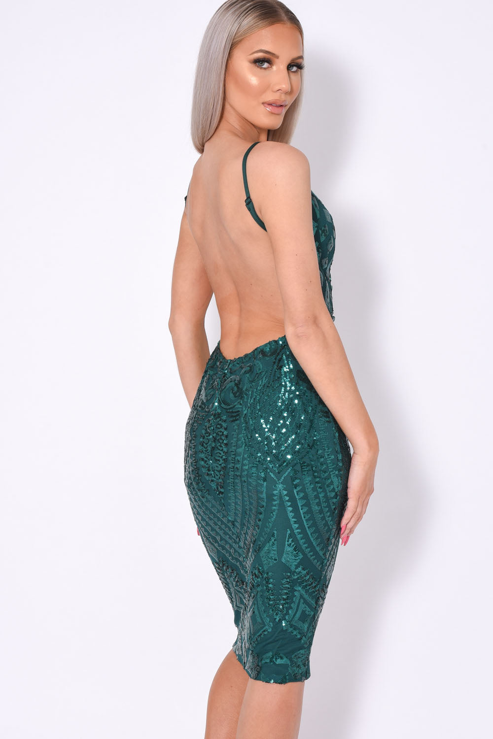 High Shine Luxe Green Sequin Backless Midi Dress