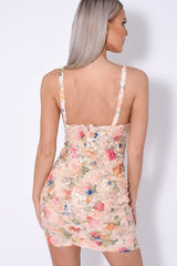 Tie The Knot Floral Lace & Nude Sequin Cut Out Bow Strappy Dress