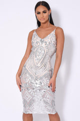 Body On Me Luxe Silver Sequin Sheer Bodysuit Midi Dress