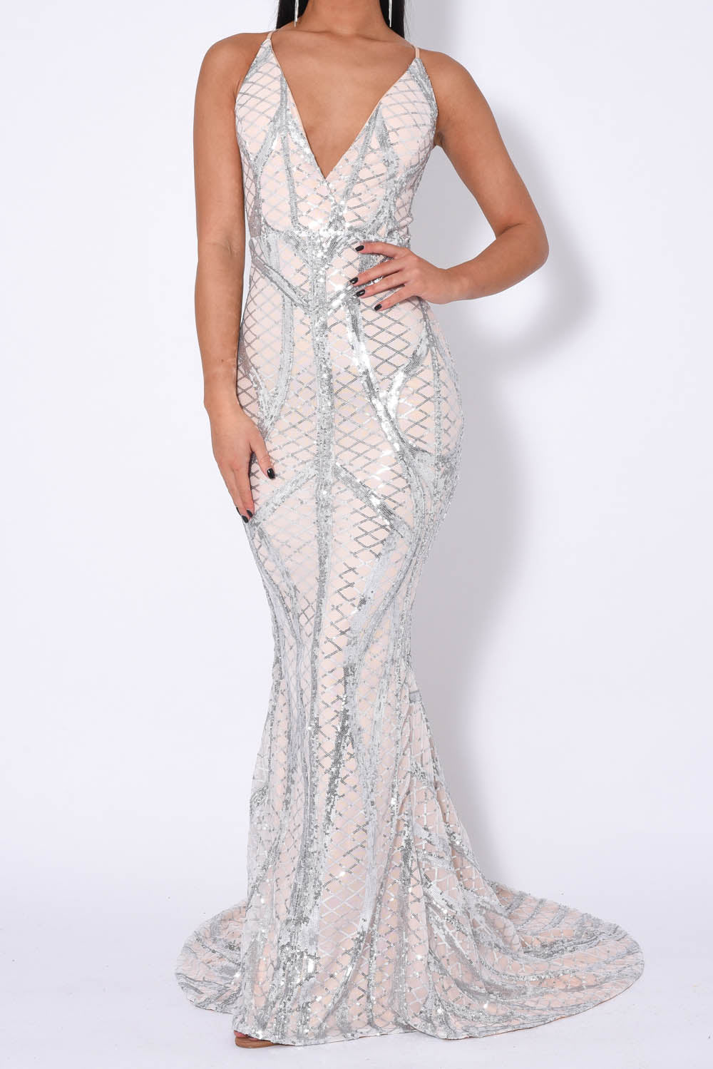 Last Dance Silver Nude Plunge Cage Sequin Bandage Illusion Fishtail Dress