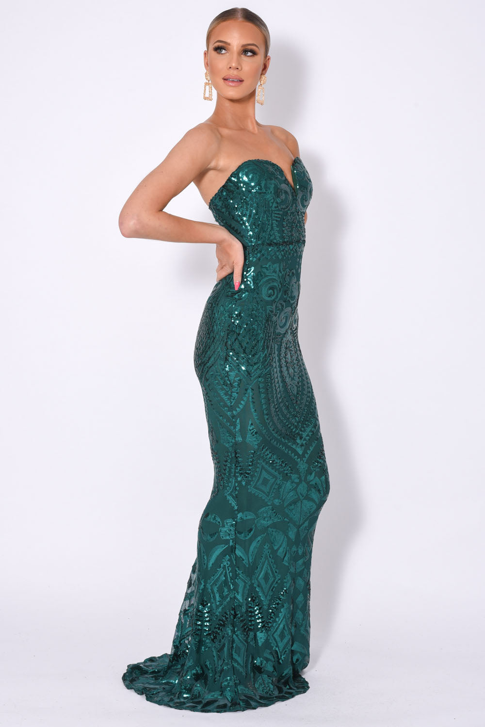 Kenza Green Luxe Sweetheart Plunge Sequin Embellished Fishtail Dress