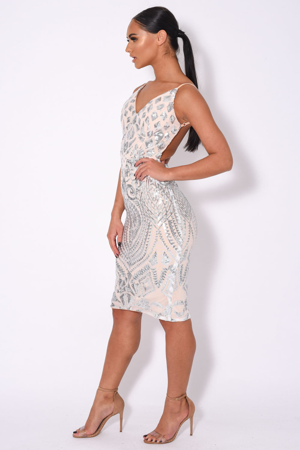 High Shine Luxe Silver Sequin Backless Midi Dress