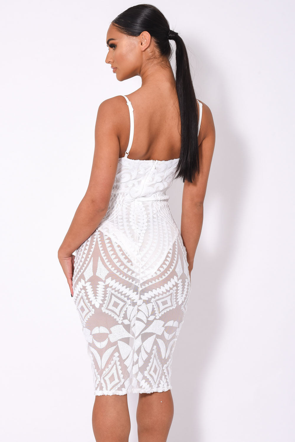 Body On Me Luxe White Sequin Sheer Bodysuit Midi Dress