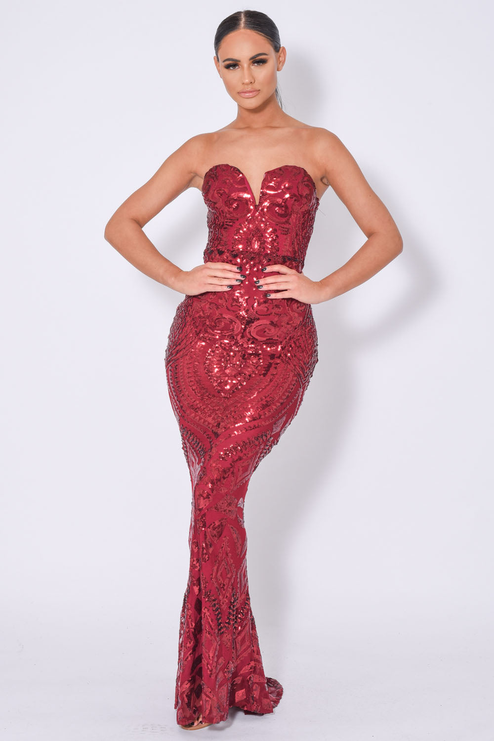 Kenza Berry Luxe Sweetheart Plunge Sequin Embellished Fishtail Dress