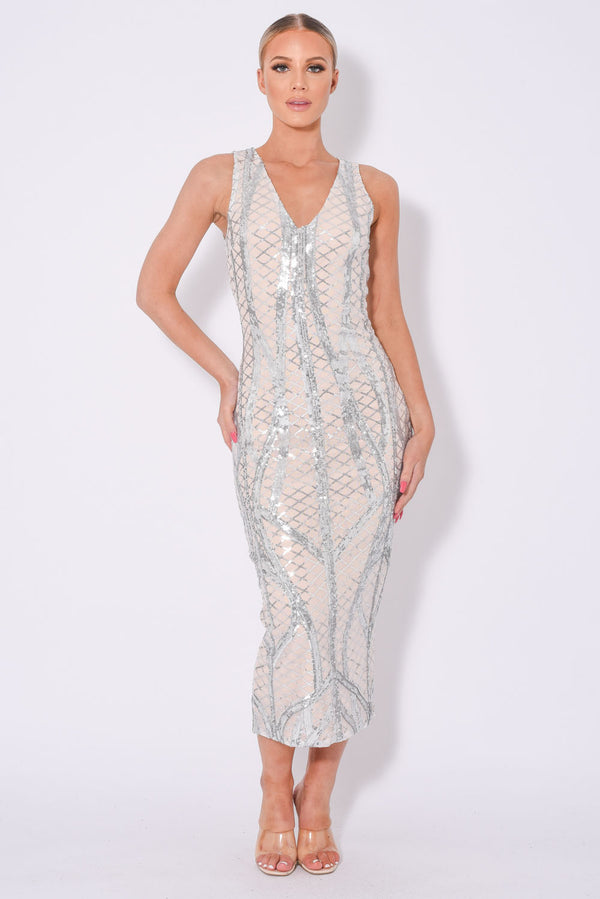 Iconic Luxe Silver Cage Sequin Bandage Illusion Midi Pencil Dress