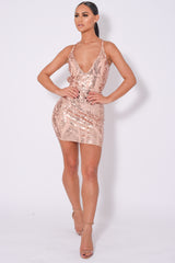 Soho Luxe Rose Gold Plunge Floral Sequin Brocade Illusion Dress