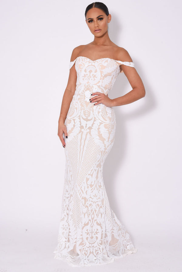 Layali White Nude Bardot Sweetheart Sequin Embellished Maxi Fishtail Dress