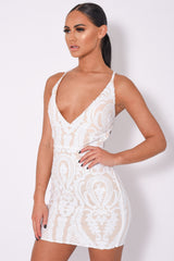 Soho Luxe White Nude Plunge Floral Sequin Brocade Illusion Dress