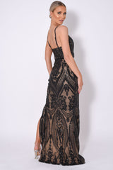 Outshine Vip Black Nude Sequin Illusion Slit Maxi Dress