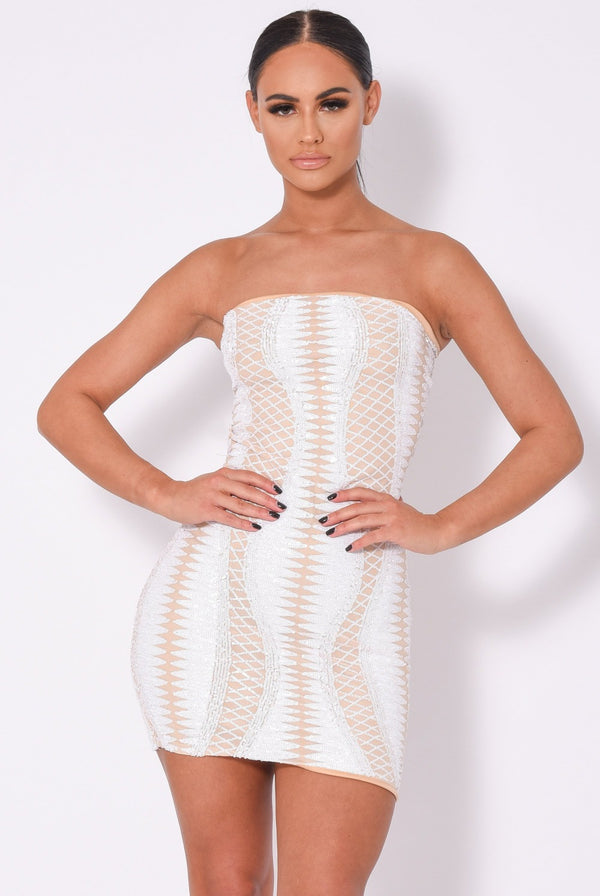 Tie Me Up White Nude Bandeau Cage Sequin Bandage Illusion Lace Up Dress