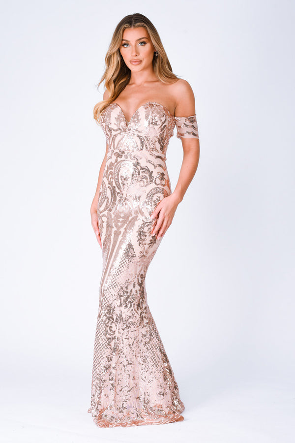 nazz collection sweetheart plunge sequin embellished bardot off the shoulder maxi fishtail mermaid dress rose gold