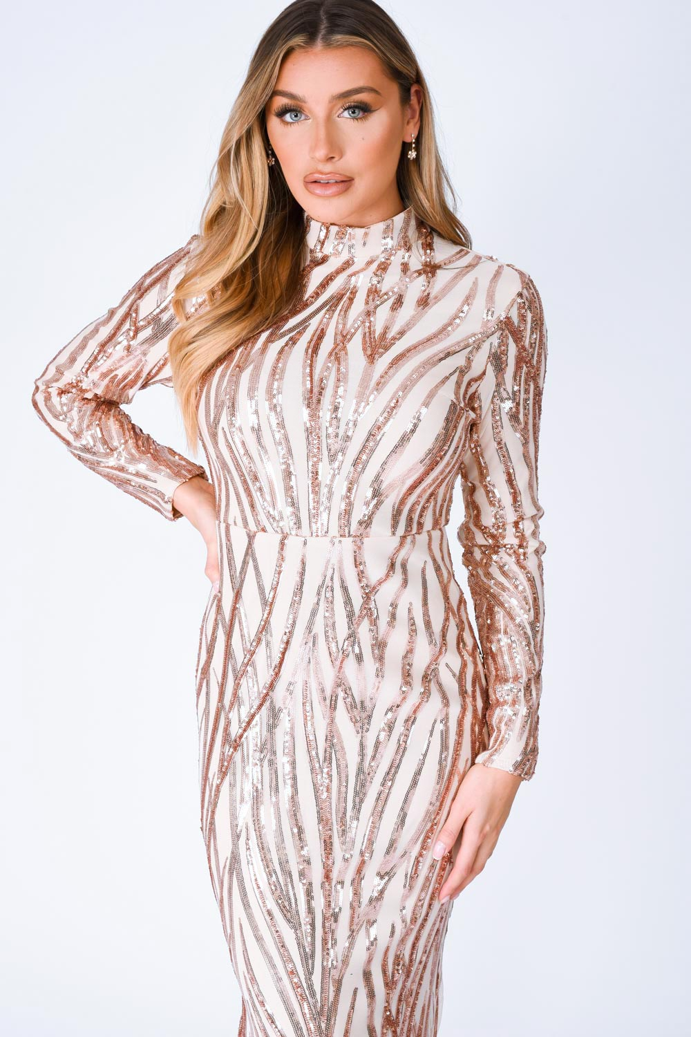 Trinity Luxe Rose Gold Sequin Tree Effect Illusion Maxi Dress
